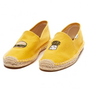 Soludus x Jason Polan Burger and Fries Mustard Yellow Slip on $65